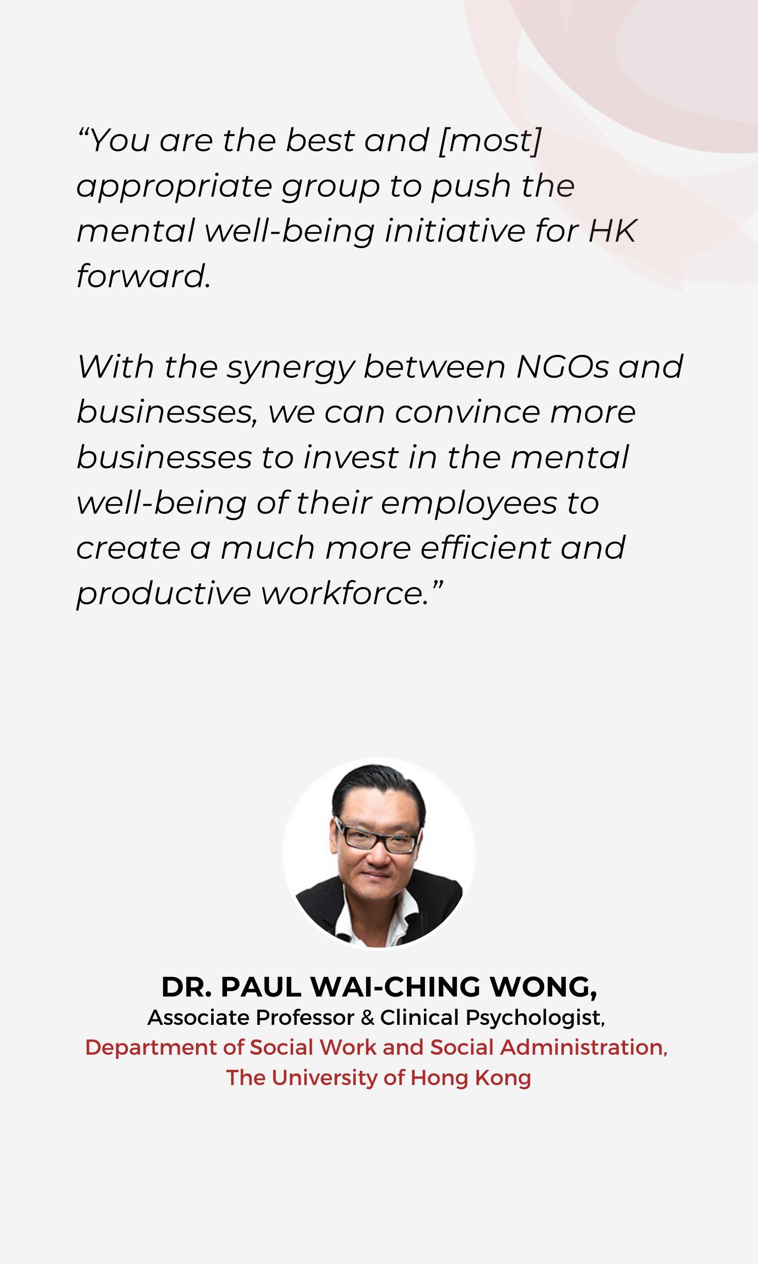 DR. PAUL WAI-CHING WONG Testimoniall